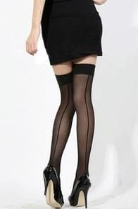 3 STKS vrouwen sexy perspectief gestreepte kousen Lady dij hoge panty lange kous nylon kousen (zwart)