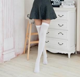 3 paar sexy dij hoge kous vrouwen over knie sokken vrouwelijk kousen (wit)