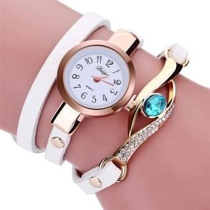 3 PCS Eye Shape Gemstone Bracelet Watch for Women(White)