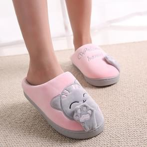 Lucky Cat Indoor Home Non-slip Bottom Warm Plush Cotton Slippers for Couple, Shoe Size:250(Pink)
