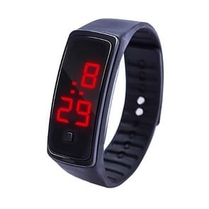 LED digitale display silicone armband kinderen elektronisch horloge (zwart)