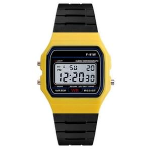 HONHX F-91W analoge digitale Motion LED siliconen riem multifunctioneel elektronisch horloge (geel)
