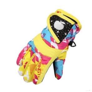 Kinderen Full Finger Ski Handschoenen waterdicht gewatteerde warme paardrijden handschoenen  grootte: 3-6 jaar oud (geel)