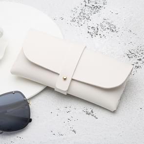 Fashion Portable Bril Case Magnetic PU lederen opvouwbare bril doos voor eyeglass oversized zonnebril (wit)