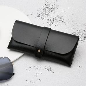 Fashion Portable Bril Case Magnetic PU lederen opvouwbare bril doos voor eyeglass oversized zonnebril (zwart)