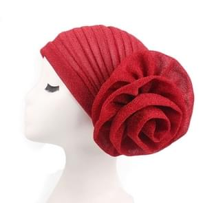 2PCS Bright Wire Plate Fower Turban Cap Chemotherapy Cap(Red)