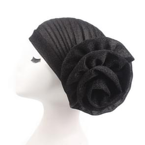 2PCS Bright Wire Plate Fower Turban Cap Chemotherapy Cap(Black)