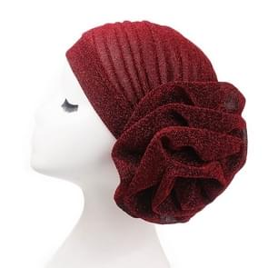 2PCS Bright Wire Plate Fower Turban Cap Chemotherapy Cap(wine red)