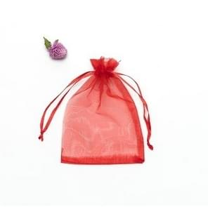 100 PCS Gift Bags Jewelry Organza Bag Wedding Birthday Party Drawable Pouches, Gift Bag Size:7X9cm(Red)