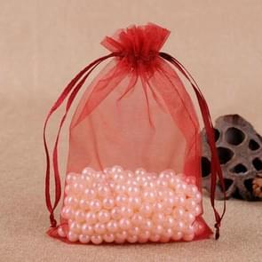 100 stuks geschenk zakken sieraden organza zakje bruiloft verjaardag partij drawable zakjes, Gift Bag grootte: 7X9cm (wijnrood)