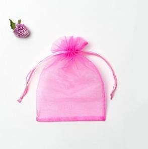 100 PCS Gift Bags Jewelry Organza Bag Wedding Birthday Party Drawable Pouches, Gift Bag Size:20x30cm(Dark Pink)