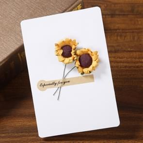 2 PCS Blessing Card Dry Flower Creative Universal Greeting Card(White)