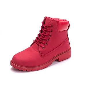 Couple Casual Big Head Warm Shoes Martin Boots, Size:37(Red)