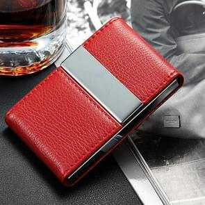 Dubbele open RVS Litchi textuur Card Case kaarthouder (rood)
