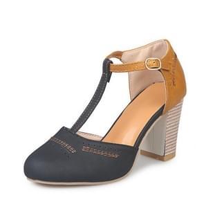 Dikke hak suède veelzijdige hoge hak sandalen voor vrouwen, schoenmaat: 37 (zwart)
