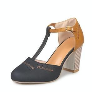 Dikke hak suède veelzijdige hoge hak sandalen voor vrouwen, schoenmaat: 38 (zwart)