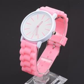 Simple Style Round Dial Jelly Silicone Strap Quartz Watch(Pink)