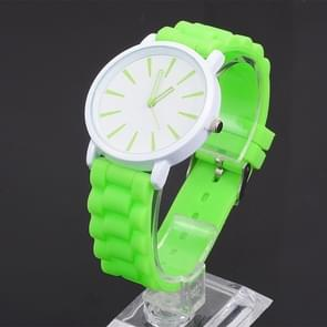 Simple Style Round Dial Jelly Silicone Strap Quartz Watch(Green)