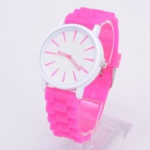 Simple Style Round Dial Jelly Silicone Strap Quartz Watch(Rose Red)