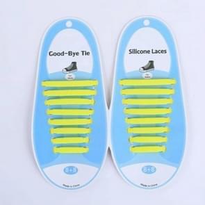 16 PCS / Set Running No Tie Shoelaces Fashion Unisex Athletic Elastic Silicone ShoeLaces(Yellow )