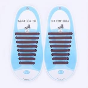 16 PCS / Set Running No Tie Shoelaces Fashion Unisex Athletic Elastic Silicone ShoeLaces(Coffee)