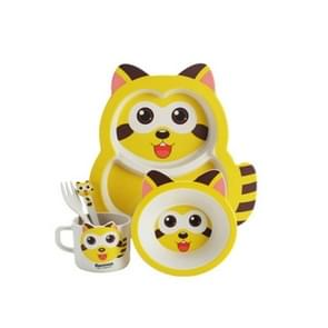 5 PCS /Set Baby Cute Raccoon Feeding Food Dishes Kids Dinnerware(Yellow)