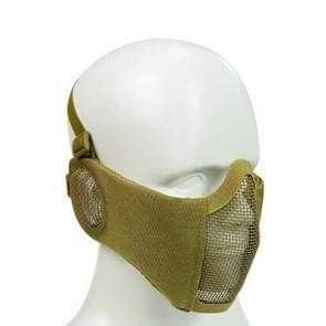 WoSporT Half Face Metal Net Field  Ear Protection Outdoor Cycling Steel Tactical Mask(Tan)