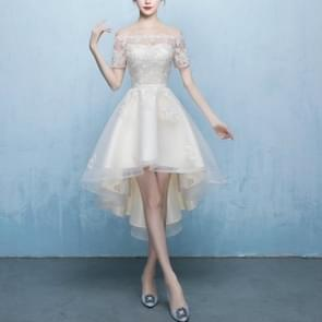 Chinese Style Modified Bud Mesh Eye Cheongsam Bridesmaid Wedding, Size:XS(Champagne  Front Short Back Long)