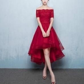 Chinese Style Modified Bud Mesh Eye Cheongsam Bridesmaid Wedding, Size:XXXL(Wine Red Front Short Back Long)