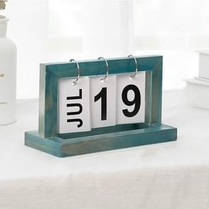 Creative Simple Wooden Flip Calendar Desktop Office Decoration(Blue)