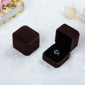 3 PCS Wedding Jewelry Accessories Squre Velvet Jewelry Box Jewelry Display Case Gift Boxes Ring Earrings Box(Coffee)