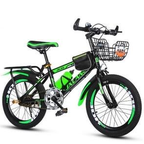 18 Inch Kinderfietsen 7-15 jaar kinderen zonder hulpwielen  stijl: variabele snelheid luxe (Zwart Groen)
