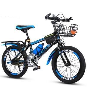 22 Inch Kinderfietsen 7-15 jaar kinderen zonder hulpwielen  stijl: variabele snelheid luxe (Zwart Blauw)