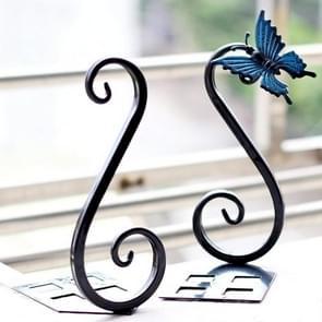 1 paar metalen boekensteunen thuiskantoor school boek ambachtelijke creatieve Vintage vlinder decoratie (zwart)
