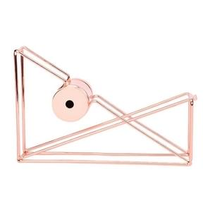 2PCS Metal Wire Hollow Tape Cutters Holder Office Supply Desktop Dispenser Racks(Rose Gold)