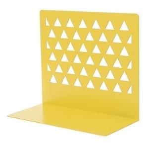 Metal Triangular Hollow Desktop Organizer Bookends Support Stand Holder Shelf Bookrack Home Office Supplies(Yellow)