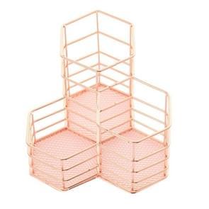 2 PCS Pen Cup Holder Desk Hexagon Iron Hollow Makeup Brush Organizer Stationery Storage Container Hexagonal Penholder(Rose Gold)