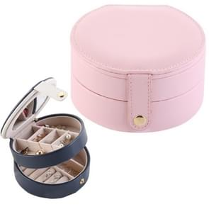 2 Tiers Jewelry Portable Box Makeup Earrings Case Storage Organizer Container(Light Pink)