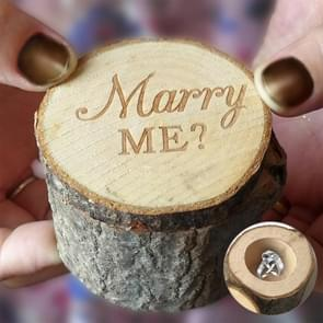 2 PCS Rural Wedding Marry Me Wooden Ring Holder Engagement Valentine Jewelry Box Case