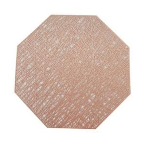 Pastoral Octagonal PVC Insulated Placemat Creative Hollow Placemat Household Table Decoration(Rose Gold)