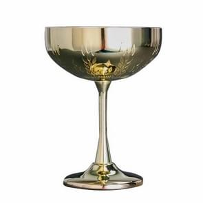 2 PCS 304 Stainless Steel Cup Ear Of Wheat Print Martini Goblet Wine Glass Drinkware(Gold)
