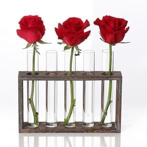Creative Simple Coffee Shop Interior Desktop Decoration Decoration Transparent Hydroponic Glass Test Tube Vase, Type:3-Hole Wooden Frame
