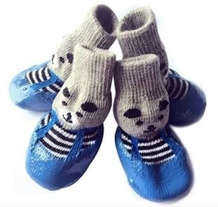 2 Pairs Cotton Rubber Pet Dog Socks Waterproof Non-slip Dog Rain Snow Boots Socks Footwear, Size:M(Blue)