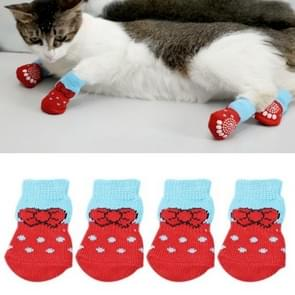 2 Pairs Pet Dog Puppy Cat Shoes Slippers Non-Slip Socks Pet Cute Indoor for Small Dogs Cats Snow Boots Socks, Size:M(Red)