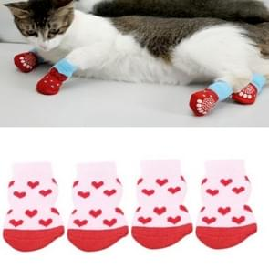2 Pairs Pet Dog Puppy Cat Shoes Slippers Non-Slip Socks Pet Cute Indoor for Small Dogs Cats Snow Boots Socks, Size:M(Light Red )