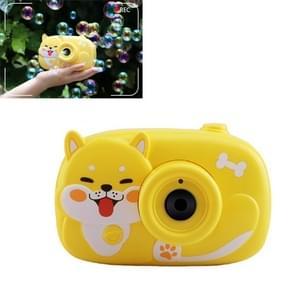Cute Dog Automatische Bubble Camera met Lichte Muziek Zomer Bubble Blowing Speelgoed (Geel)