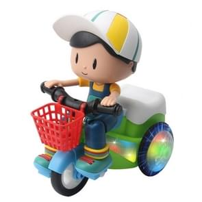 Elektrische Universele Stunt Driewieler Roterende Cartoon Speelgoed Auto met lichte muziek  random color delivery (Boy)