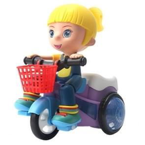 Elektrische Universele Stunt Driewieler Roterende Cartoon Speelgoed Auto met lichte muziek  random color delivery (Meisje)