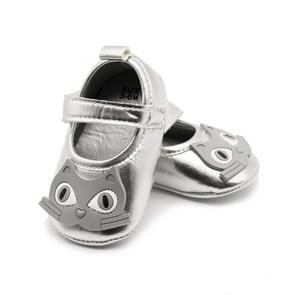Baby PU Leather Cartoon Soft Soled Non-slip Footwear Crib Shoes, Size:12cm(Silver)