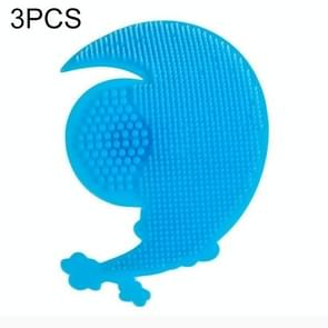 3 PCS Cartoon Baby Child Shampoo Brush Safety Comb Silicone Cleaning Bath Rub Massage Brush(Blue Moon)